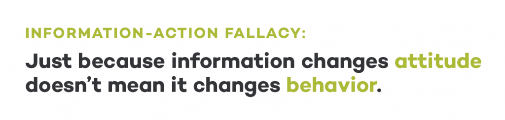 information action fallacy behavior design